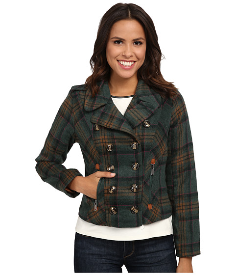 Imbracaminte Femei dollhouse Double Breasted Notch Collar Jacket w Zipper Pockets Tori Plaid