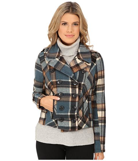 Imbracaminte Femei dollhouse Double Breasted Notch Collar Jacket w Zipper Pockets Taylor Plaid