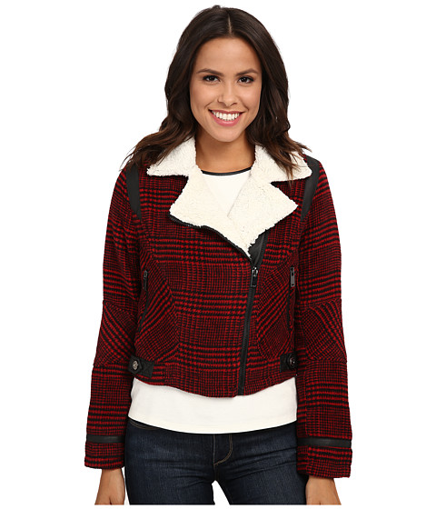 Imbracaminte Femei dollhouse Asymetric Zip Jacket w Pile Collar amp PU Trim Dolce Plaid Red