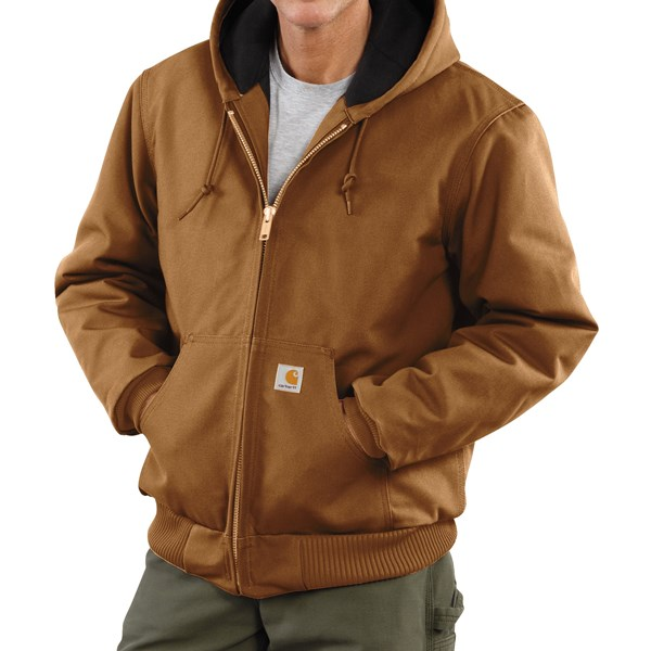 Imbracaminte Barbati Carhartt Active Duck Jacket - Flannel-Lined (For Tall Men) CARHARTT BROWN (02)