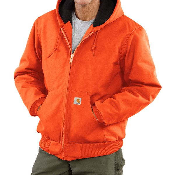 Imbracaminte Barbati Carhartt Active Duck Jacket - Flannel-Lined BLAZE ORANGE (06)
