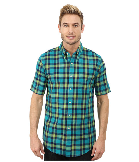 Imbracaminte Barbati Pendleton Short Sleeve Fitted Seaside Button Down Shirt Bright GreenTurquoiseNavy Plaid