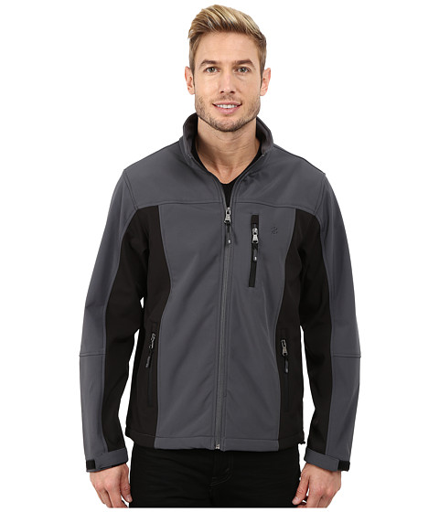 Imbracaminte Barbati IZOD Softshell with Quilted Mini Ripstop Front Hooded BlackCharcoal