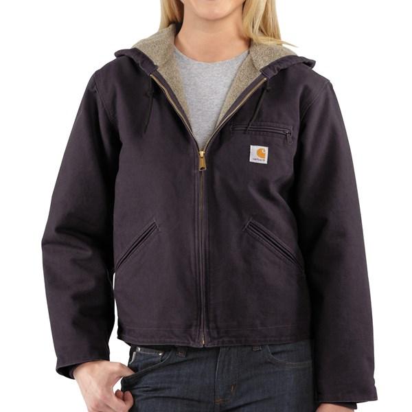 Imbracaminte Femei Carhartt Sandstone Sierra Hooded Jacket with Sherpa Lining DEEP WINE (01)