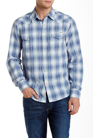 Imbracaminte Barbati Lucky Brand Plaid Long Sleeve Regular Fit Western Shirt BLUE-WHITE