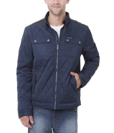 Imbracaminte Barbati US Polo Assn QUILTED JACKET W Faux Leather Yoke and Trim Classic Navy