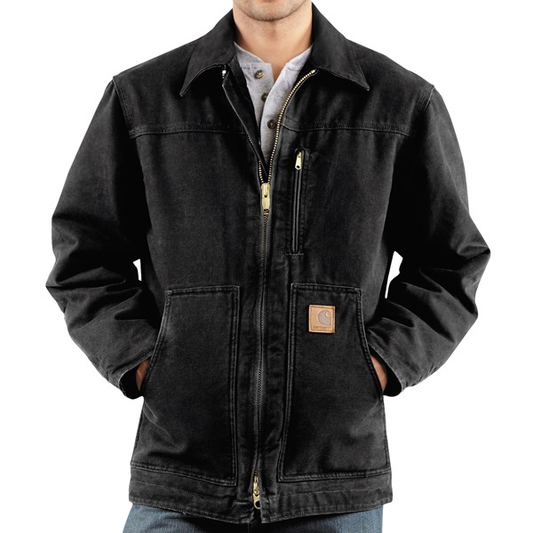 Imbracaminte Barbati Carhartt Sandstone Ridge Coat - Sherpa Pile Lining (For Tall Men) BLACK (01)