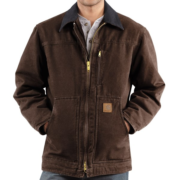 Imbracaminte Barbati Carhartt Sandstone Ridge Coat - Sherpa Pile Lining (For Tall Men) DARK BROWN (40)