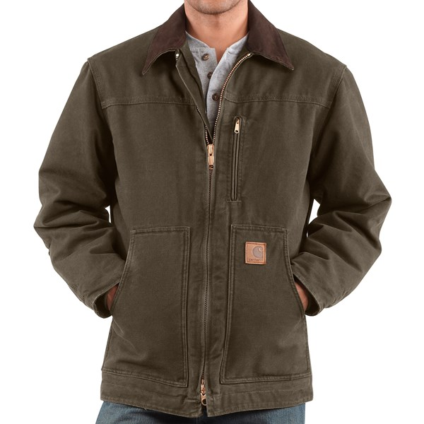 Imbracaminte Barbati Carhartt Sandstone Ridge Coat - Sherpa Pile Lining (For Tall Men) ARMY GREEN (04)
