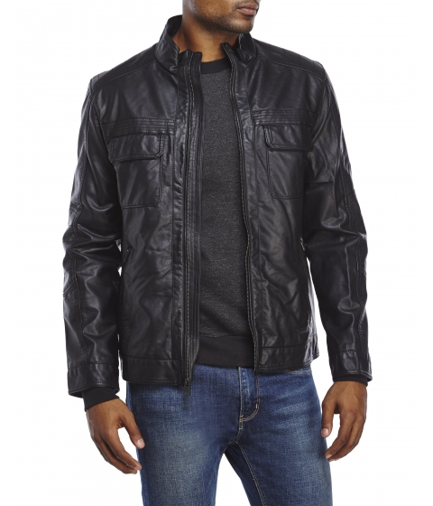 Imbracaminte Barbati Buffalo David Bitton Black Faux Leather Jacket Black