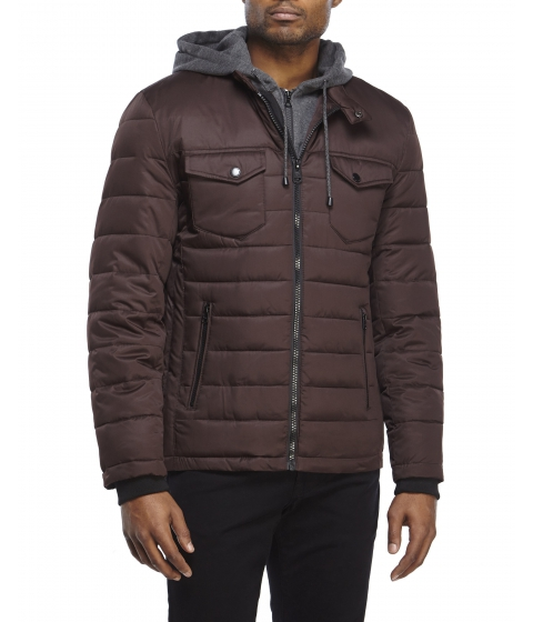 Imbracaminte Barbati Buffalo David Bitton Hooded Bib Puffer Jacket Burgundy
