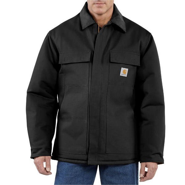 Imbracaminte Barbati Carhartt Traditional Duck Work Coat - Insulated Arctic Quilt Lining BLACK (02)