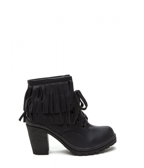 Incaltaminte Femei CheapChic Fringe To Go Chunky Booties Black