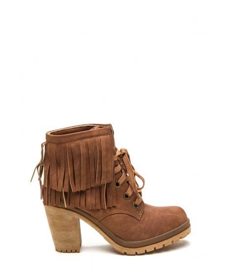 Incaltaminte Femei CheapChic Fringe To Go Chunky Booties Tan