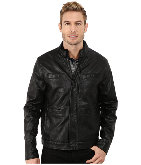 Imbracaminte Barbati Kenneth Cole Distressed Faux Leather Rider's Jacket Black