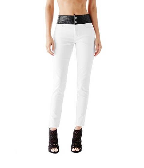 Imbracaminte Femei GUESS Cheyanna Quilted-Waist Skinny Jeans true white