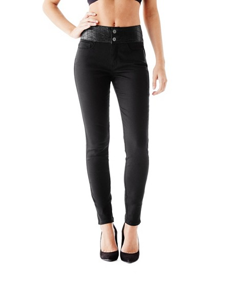 Imbracaminte Femei GUESS Cheyanna Quilted-Waist Skinny Jeans jet black