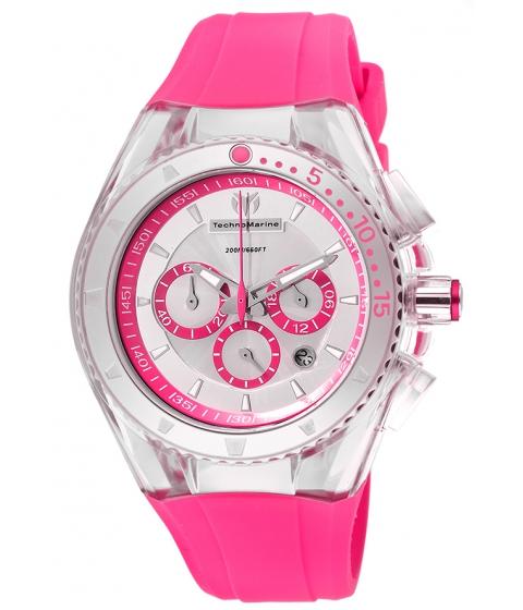 Ceasuri Femei Technomarine Cruise Lipstick Chrono Hot Pink Silicone Iridescent Dial - TECHNO-TM-111031 Silver-TonePink