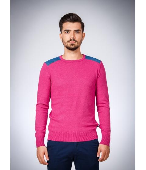 Imbracaminte Barbati Be You Pulover rosu marsala cu aplicatii jeans Multicolor