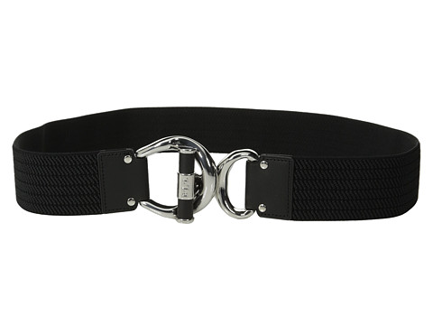 Accesorii Femei LAUREN Ralph Lauren Woodbridge 1 34quot Ribbed Stretch Belt w Leather Wrapped Toggle Interlock BlackBlack