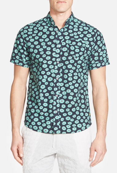 Imbracaminte Barbati Descendant Of Thieves Extra Trim Fit Short Sleeve Floral Print Woven Shirt NAVY- GREEN
