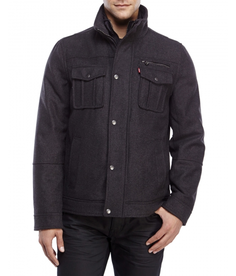 Imbracaminte Barbati Levi's Padded Coat with Bib Charcoal