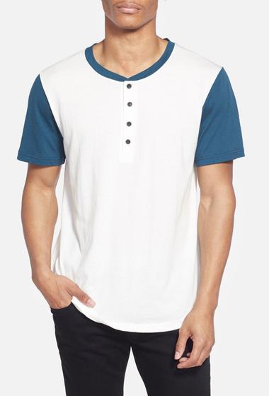 Imbracaminte Barbati Alternative Apparel Cotton Modal Baseball Henley T-Shirt WHITE- BLUE