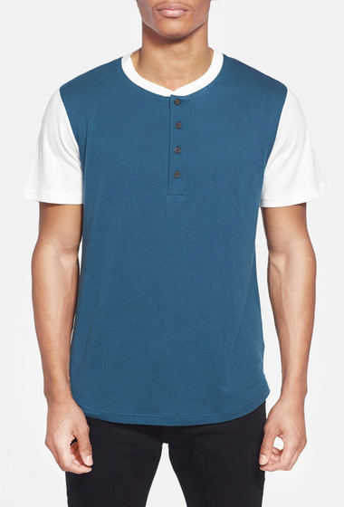 Imbracaminte Barbati Alternative Apparel Cotton Modal Baseball Henley T-Shirt MINERAL BLUE- WHITE