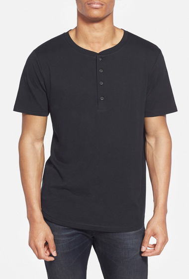 Imbracaminte Barbati Alternative Apparel Cotton Modal Baseball Henley T-Shirt BLACK