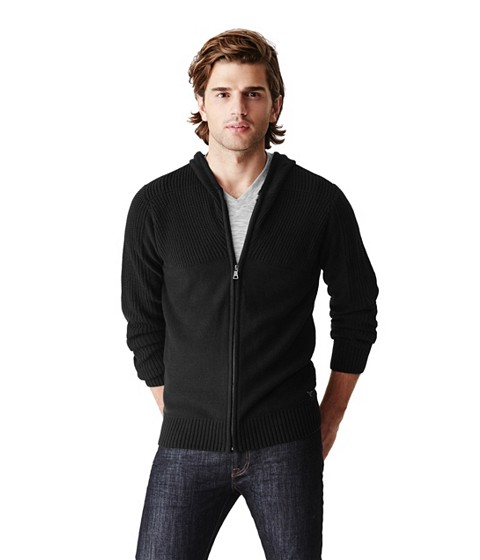 Imbracaminte Barbati GUESS Sutton Zip-Up Sweater Hoodie jet black