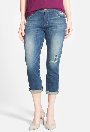 Imbracaminte Femei Wit Wisdom Destroyed Crop Girlfriend Jeans INDIGO