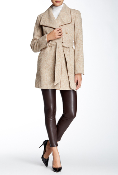 Imbracaminte Femei Ellen Tracy Novelty Wool Blend Wrap Coat CAMEL