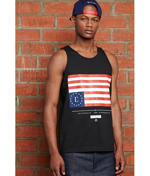 Imbracaminte Barbati Forever21 Civil Home Team Rebel Flag Tank Blackred