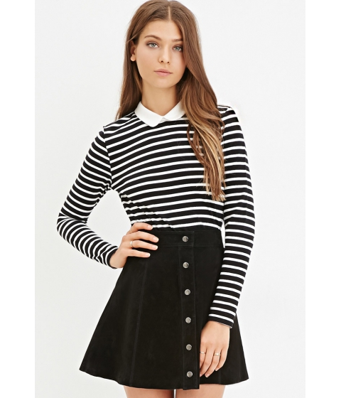 Imbracaminte Femei Forever21 Contrast Collar Striped Shirt Blackcream