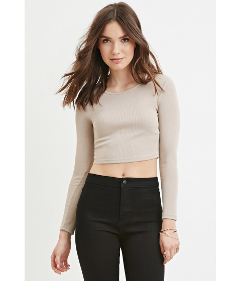 Imbracaminte Femei Forever21 Ribbed Knit Crop Top Taupe