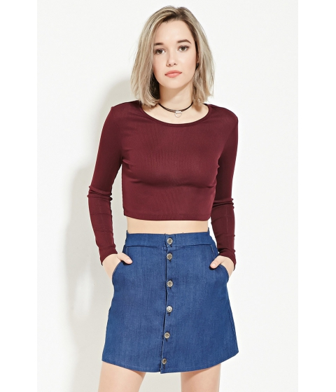 Imbracaminte Femei Forever21 Ribbed Knit Crop Top Wine