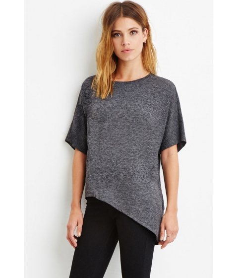 Imbracaminte Femei Forever21 Contemporary Heathered Asymmetrical Top Charcoal