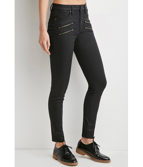 Imbracaminte Femei Forever21 Contemporary Life in Progress Zipped Skinny Jeans Black