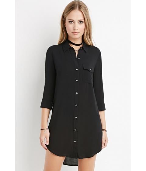 Imbracaminte Femei Forever21 Curved-Hem Shirt Dress Black