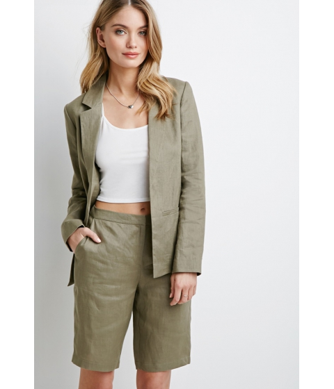 Imbracaminte Femei Forever21 Contemporary Open-Front Linen Blazer Light olive