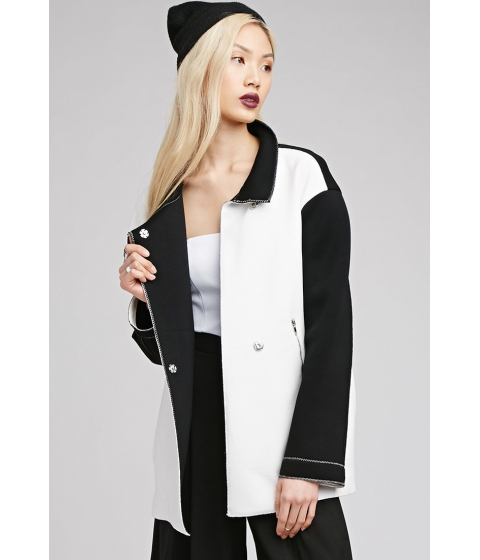 Imbracaminte Femei Forever21 Scuba Knit Collared Jacket Whiteblack