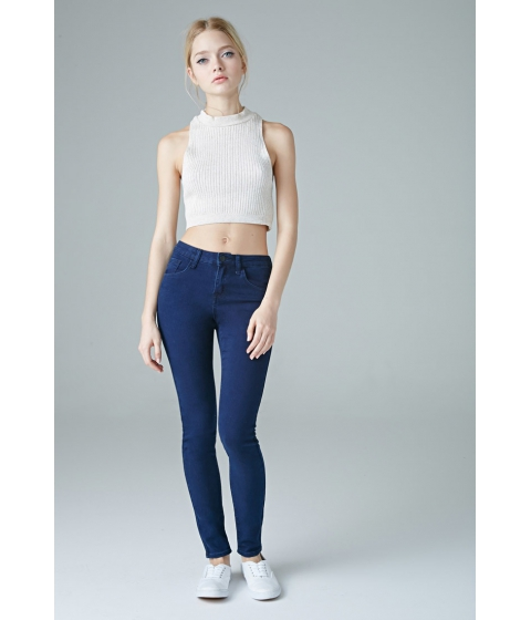 Imbracaminte Femei Forever21 The Sunset Mid Rise Jean Blue
