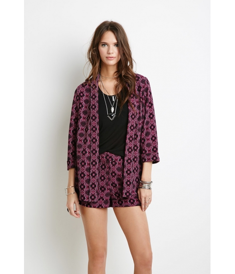 Imbracaminte Femei Forever21 Ornate Floral Print Jacket Pink