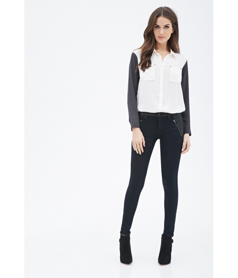 Imbracaminte Femei Forever21 Contemporary Life in Progress Paneled Skinny Jeans Black