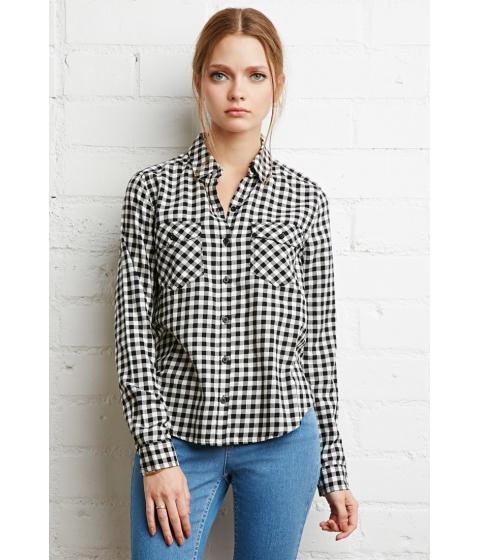 Imbracaminte Femei Forever21 Gingham Plaid Shirt Blackcream