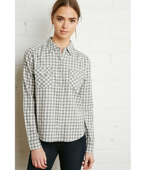 Imbracaminte Femei Forever21 Gingham Plaid Shirt Creamheather grey