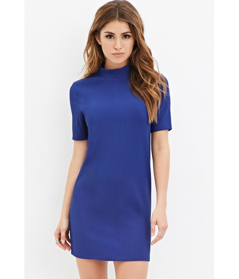 Imbracaminte Femei Forever21 Mock Neck Ribbed Dress Royal