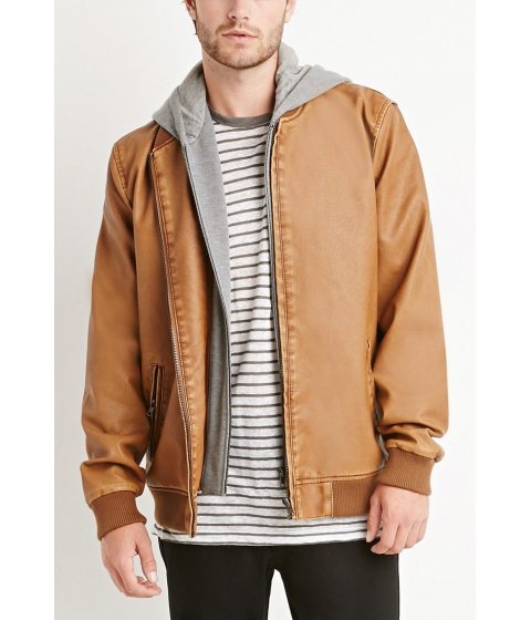 Imbracaminte Barbati Forever21 Faux Leather Hooded Jacket Brown