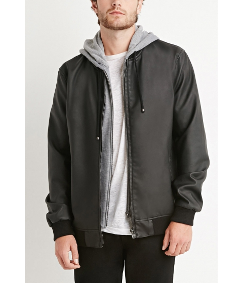 Imbracaminte Barbati Forever21 Faux Leather Hooded Jacket Black