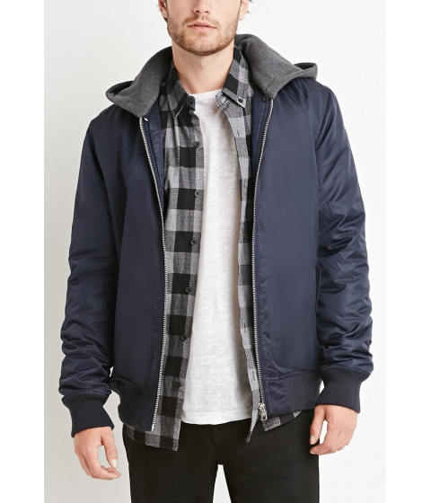 Imbracaminte Barbati Forever21 Padded Nylon Hooded Jacket Navyheather grey